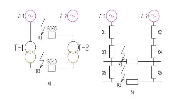 схема; б) Схема замещения.